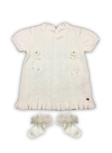 By Leyal For Kids Mevsimlik Triko Kısa Kol Elbise Ve Fırfırlı Çorap-4011 Beyaz
